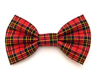 The Blackstone Bow Tie —Brooklyn Bowtied, Dog Bow Tie, Plaid, Red, Gold, Holiday, Christmas, Metallic, Wedding Outfit, Bowtie, Gift