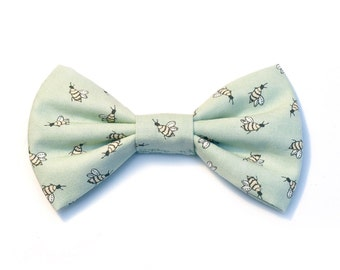 The Barrows Bow Tie — Dog Bowtie, Brooklyn Bowtied, Teal, Mint, Bumble Bee, Wedding Clothes, Spring, Ring Bearer, Collar