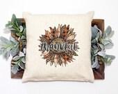 Thankful Pillow Covers 18X18, Thanksgiving Pillow Cover, Sunflower Throw Pillow Cover 18X18, Farmhouse Décor Pillow, Fall Pillow Cover