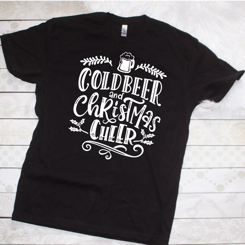4a351d3fdc Cold Beer and Christmas Cheer Funny Christmas Shirt Mens | Etsy