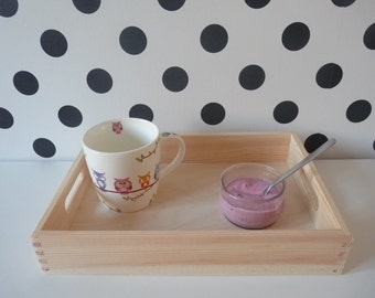 2 pcs Set of 2 small wooden trays, unfinished tray, plain serving tray, wooden tray, decoupage decoration, unpainted decoupage kitchen tray