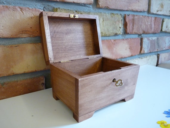 Large Flower and Holly Wood Jewelry Chest with Lock and Key  Keepsake Box