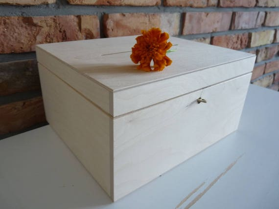 Wedding Wooden Card box with Slot Wood Wedding Card Box   Etsy