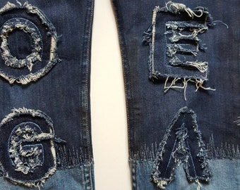 Remade chenillefont embroidered two-tone skinny jeans Size 28/32