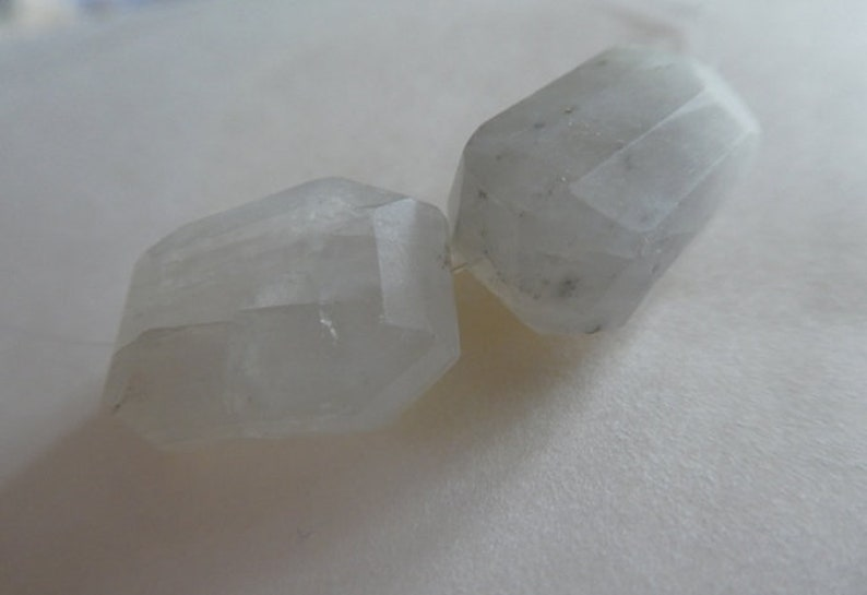 Rainbow moonstone gemstone nuggets 17x13x9mm beads-2 beads-Raw Moonstone gemstone beads-Focal beads-Jewelry beads supply-white stone beads