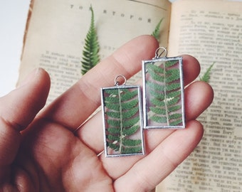 Forest earrings, Green fern plant, Fern earrings, Botanical Herbarium Flower Natural History, Christmas gift for her, Fern leaf jewelry