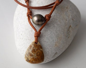 Tahitian pearl, natural fossil coral, australian leather, adaptable woman necklace