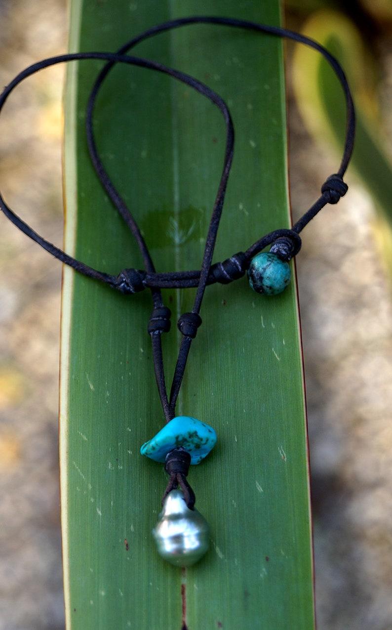 turquoise pendant Tahitian pearl australian leather woman jewel woman necklace