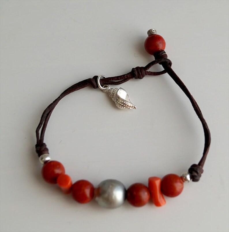 genuine coral beads Tahitian pearl charm/'s sterling silver women  boho jewel