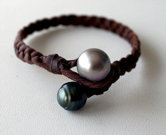 Tahitian pearl braided australian leather silver beads women bracelet silver 925 as clasp