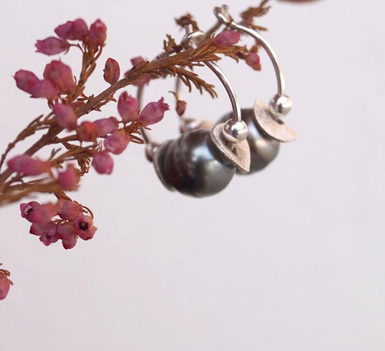 Hoop earring sterling silver 925 tahitian pearls woman jewel