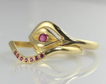 Wedding and Engagement Ring Set, Gold Ruby Ring, Stacked Wedding Ring, Ruby Engagement Ring, Stacking Gold Rings, Bridal Set, Set of 2 Rings
