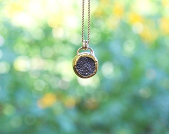 Gold Coin Pendant With Black Druzy Quartz , 22K Gold Pendant , 14k Gold Necklace , Small Minimalist Pendant , Modern Pendant Feminine Charm