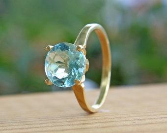 Blue Topaz Engagement Ring, Blue Topaz Solitaire Ring, Modern Engagement Ring, Fine Jewelry Ring, Blue Topaz Gold Ring, Gemstone, Women Gift