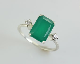 14K white gold engagement ring, Green Onyx and 2 Diamonds Ring, Christmas Gift Gold Ring, Engagement Unique Ring, Solid Gold Ring, For Her