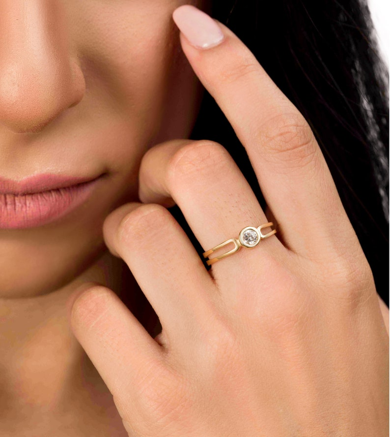 Solitaire Engagement Ring Unique Engagement Ring Natural image 0