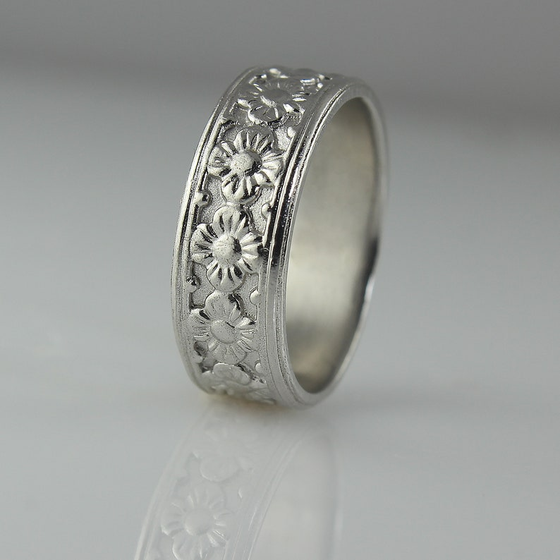 Flower Wedding Ring White Gold Wedding Ring for Women Flower image 0