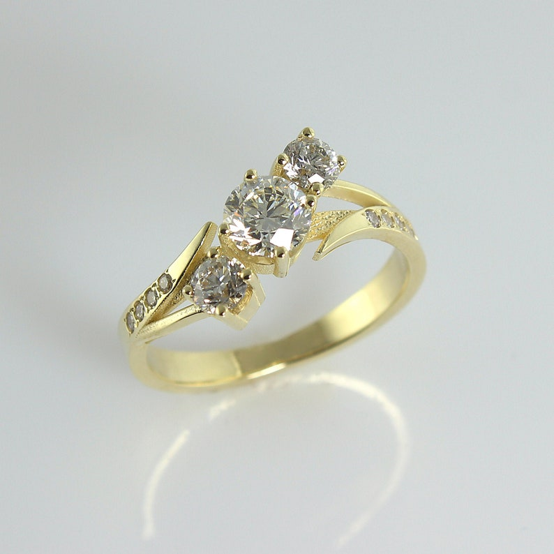 3 Diamonds Engagement Ring 14k Gold Engagement Ring Wedding image 0
