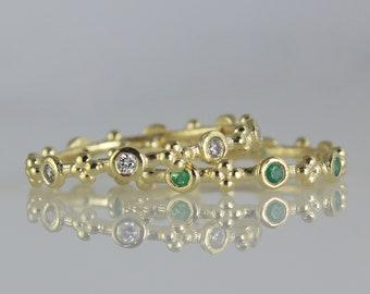 Stacking Gold Ring Set, Set of Gemstone Rings, Stacked Wedding Ring, Thin Wedding Band, Set of 2 Rings, Diamond Ruby Emerald Sapphire Rings