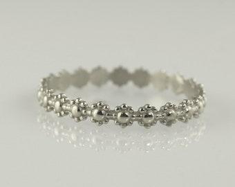Floral Wedding Band , Wedding Ring , Stack Wedding Ring , Unique Wedding Bands , Minimal ring , Thin Wedding Band , Delicate Gold Ring ,