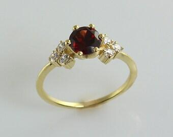 Garnet and Diamonds Ring, 14K Gold Red Garnet Diamond Ring, Diamond Engagement Ring, Anniversary Ring, Birthday Ring, Promise Gold Ring