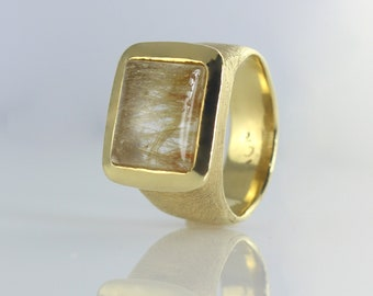 Golden Rutilated Quartz Ring Statement Ring, Unique Rutilated Quartz Solitaire Ring, Gold Gemstone Ring, 14K Cocktail Ring, Anniversary Ring