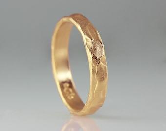 14k Gold Wedding Ring, Unisex Wedding Ring, Rose Gold Wedding Band, 14k Rose Gold Ring, Unique Wedding Band, Textured Gold Wedding Ring