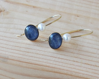 Kyanite Gold Earring, Solid Gold Dangle Earrings, Gold Earrings, pearl Earrings, Jewelry Love Present, Gift For Woman, Blue Stone Earrings