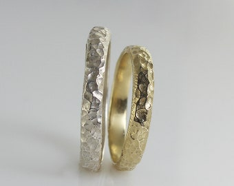 Wedding band set , matching wedding Bands , White Gold , Rough Hammered Texture , Unisex Ring , Hammered Wedding Band, His and Hers Band