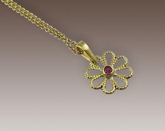 Bohemian Pendant Necklace, Boho Gemstone Necklace, Ruby Necklace, Gold Flower Pendant Necklace, 14K Dainty Necklace, Unique Long Necklace