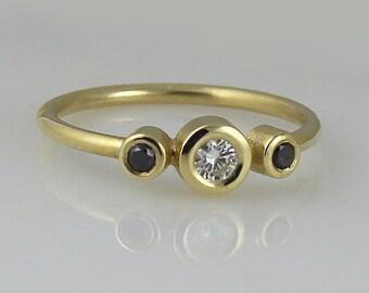white & black diamonds engagement ring, 14k Solid Gold Engagement Ring, Diamond Engagement Band, 3 Diamond Ring, Bohemian Wedding Jewelry