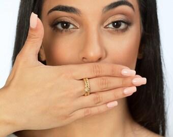 14K 18K Engagement Wedding Set , Wedding Band , Bridal Wedding Ring Set , Diamond Engagement Ring , Matching Set , Tulip Ring, Flowers Set