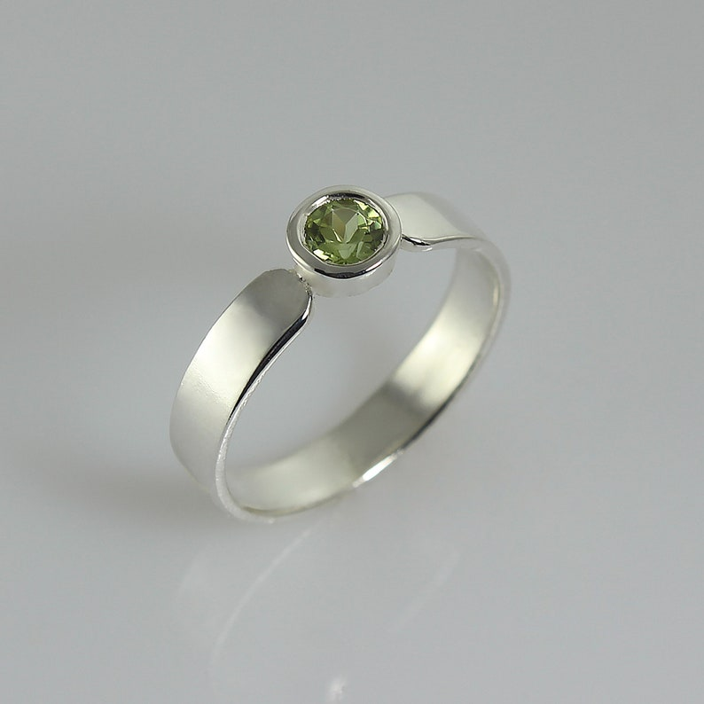 Peridot Engagement Ring Solitaire Engagement Ring Green image 0