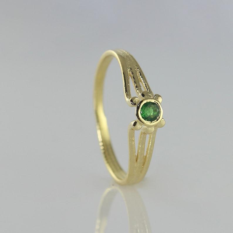 Engagement Ring  Solitaire Ring  14k Gold Ring  Tsavorite image 0