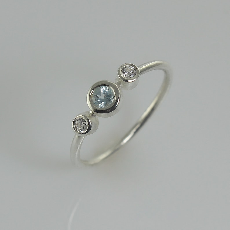 Blue Topaz Engagement Ring White Gold Engagement Ring 3 image 0