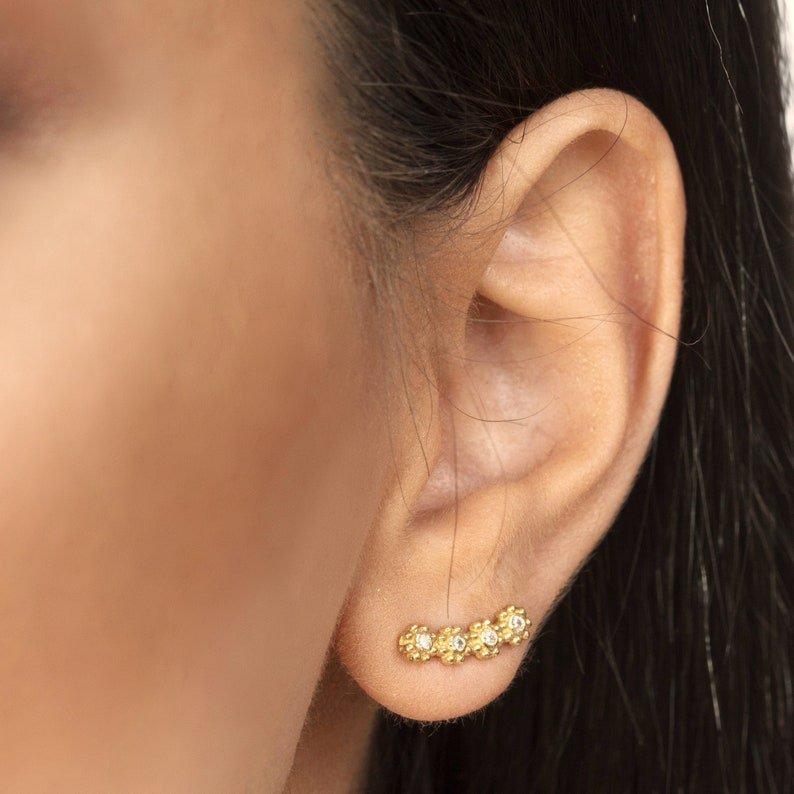 Flower Ear Climber Earring Ear Crawler Earring Long Ear image 0
