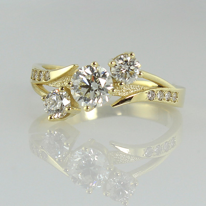 3 Moissanite Engagement Ring 14k Gold Engagement Ring image 0
