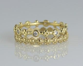 Stacking Gold Ring Set , Set Of Wedding Rings , 2 PCS Wedding Minimalist Ring , Natural Diamonds & 14K Solid Gold Rings, Thin Wedding Band