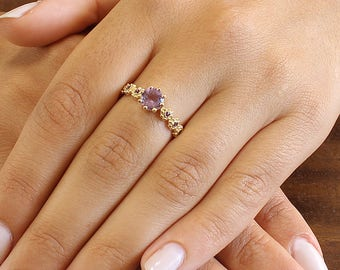 6mm Natural Amethyst Engagement Ring, Round Amethyst Ring, Bridal Ring, Flowers Ring For Her, Purple Amethyst Ring, 14K solid Gold Ring