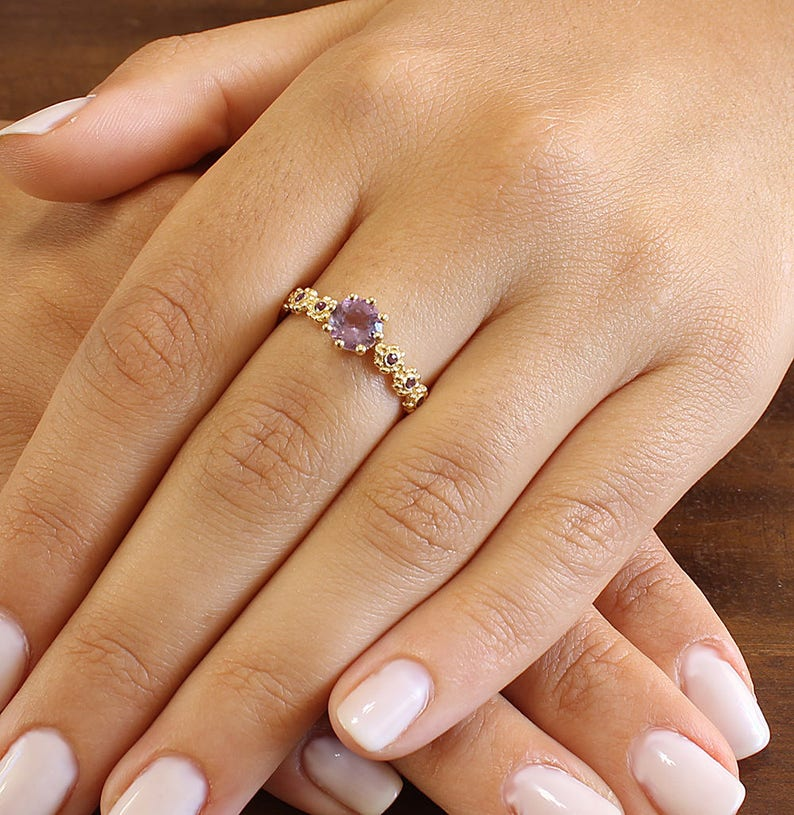 6mm Natural Amethyst Engagement Ring Round Amethyst Ring image 0
