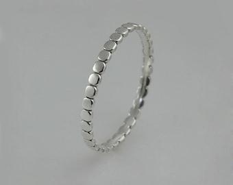 White Gold Ring, White Gold Wedding Ring, Dainty Womens Wedding Band, White Gold Stacking Rings, Thin White Gold Rings, Unique Wedding Band
