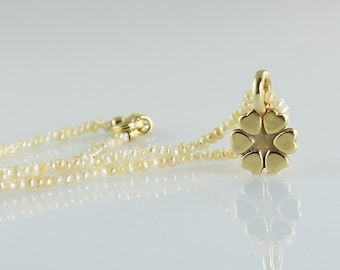Small Pearls Necklace, 14k Gold Clover Hearts Pendant, Delicate Hearts Solid Gold Necklace, Minimalist Necklace, Bridal Perfect Gift
