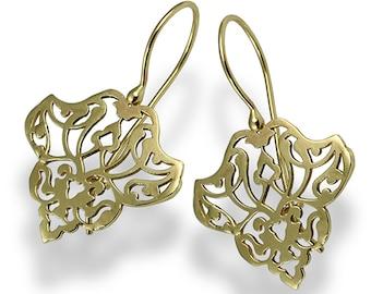 Ethnic Dangle Earrings, Yellow Gold Earrings, Dangle Gold Earrings , Filigree Earring, Handmade Bridal Earrings , Personalized Gift, For Her