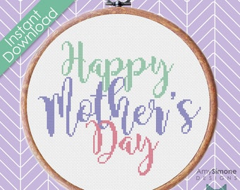 Happy Mother's Day Typography Cross Stitch Pattern