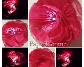 Rosas De Papel Grandes Led X 5 Luz Fondos De Flores De Novia Etsy