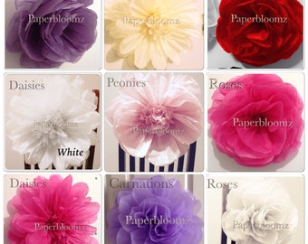 Large Mixed Paper Flowers wedding flowers backdrops party birthdays special events wall decorations chair decorations