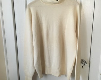 Men's Size 46 Polo Ralph Lauren 100% Cashmere Ivory Sweater
