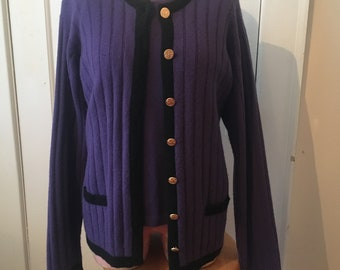 MEDIUM Ladies Scotland Vintage Valerie Louthan Twin 100% Cashmere 2pc Sweater