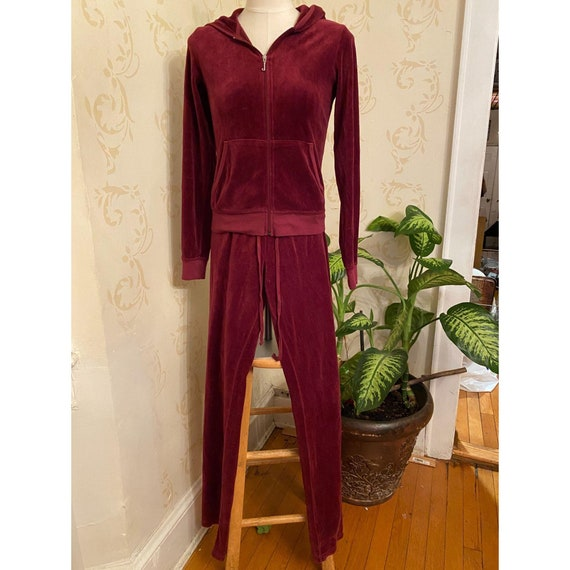 2pc Juicy Couture Velour Burgundy Track Suit Ladie