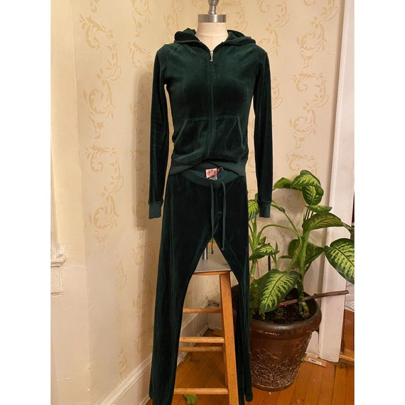 2pc Juicy Couture Velour Green Track Suit Ladies S